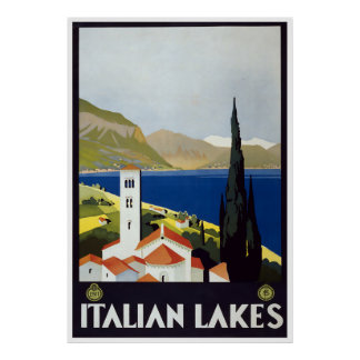 Vintage Travel Art Deco Poster Italian Lakes