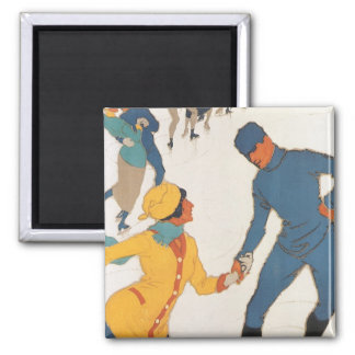 Vintage Travel, Art Deco, Winter Davos Switzerland Refrigerator Magnets