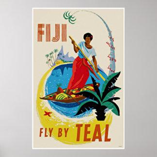Vintage Travel Art Poster Oceanic Fiji Poster