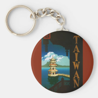 Vintage Travel Asia, Taiwan Pagoda Tiered Tower Basic Round Button Key Ring