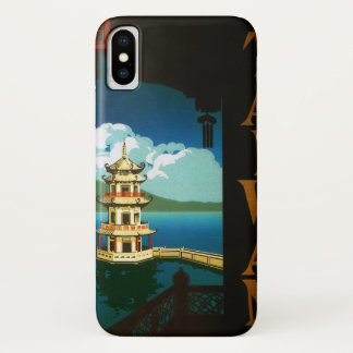Vintage Travel Asia, Taiwan Pagoda Tiered Tower iPhone X Case