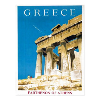 Vintage Travel Athens Greece Parthenon Temple Postcard