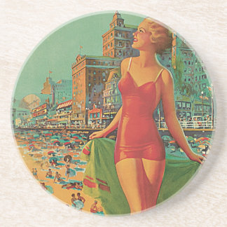 Vintage Travel, Atlantic City Resort Beach Blonde Coaster