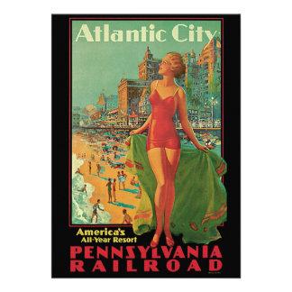 Vintage Travel Atlantic City Resort Beach Blonde Custom Announcement