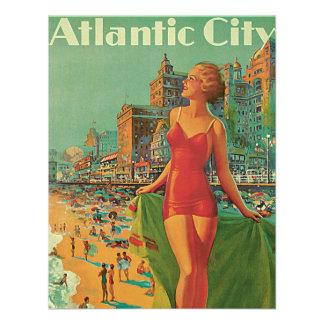 Vintage Travel Atlantic City Resort Beach Blonde Custom Invites