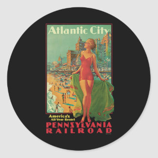 Vintage Travel; Atlantic City Resort, Beach Blonde Round Sticker
