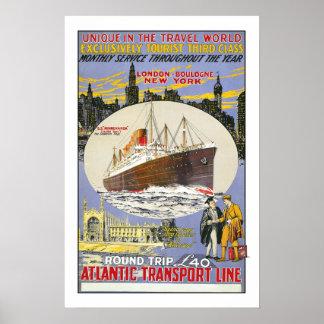 Vintage travel,Atlantic Transport Line Poster