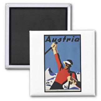 Vintage Travel Austria Ski Sports Square Magnet