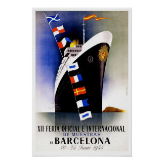 Vintage travel,Barcelona International Fair Poster