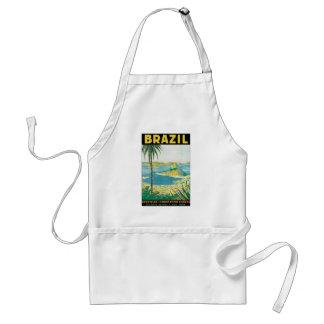 Vintage Travel Beach Coast, Rio de Janeiro Brazil Adult Apron