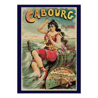 Vintage Travel Beach Resort Cabourg France Invite