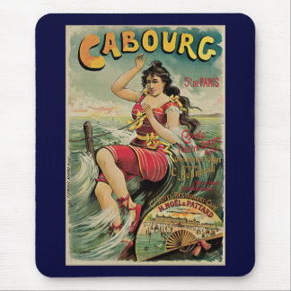 Vintage Travel, Beach Resort, Cabourg France Mouse Pad