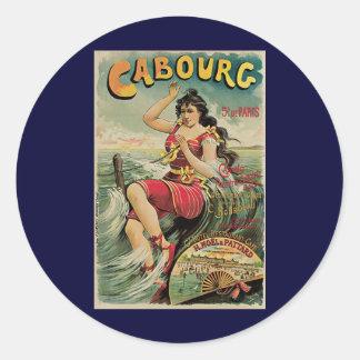 Vintage Travel, Beach Resort, Cabourg France Round Sticker