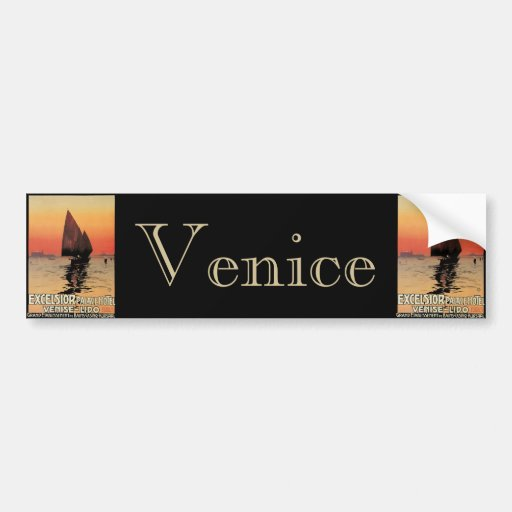 Vintage Travel, Boats at Excelsior Palace Venice Bumper Sticker