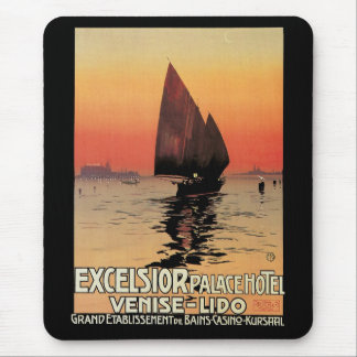 Vintage Travel, Boats at Excelsior Palace Venice Mouse Pad