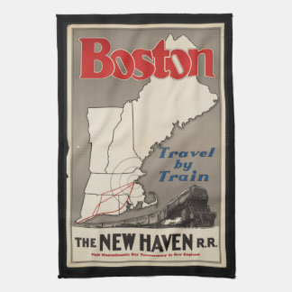 Vintage Travel Boston New Haven Railroad Train Tea Towel