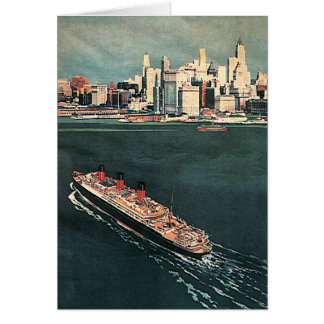 Vintage Travel by Cruise Ship to New York City Card