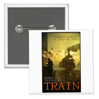 Vintage Travel By Train 15 Cm Square Badge