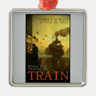 Vintage Travel By Train Premium Ornament