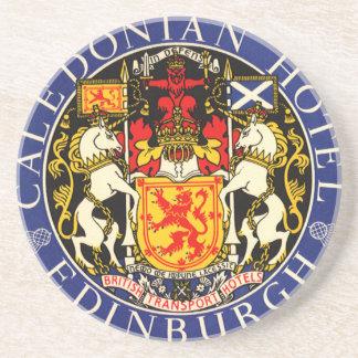Vintage Travel Caledonian Hotel Edinburgh Scotland Drink Coasters