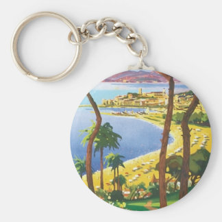 Vintage Travel Cannes Beach Scene Basic Round Button Key Ring