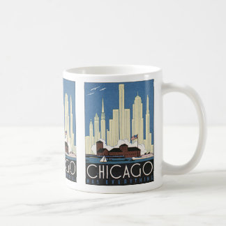 Vintage Travel Chicago Illinois Skyline Skyscraper Basic White Mug