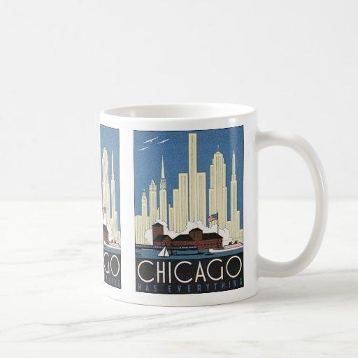 Vintage Travel Chicago Illinois Skyline Skyscraper Coffee Mugs