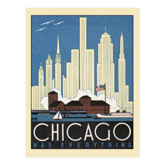 Vintage Travel Chicago Illinois Skyscraper Skyline Postcard