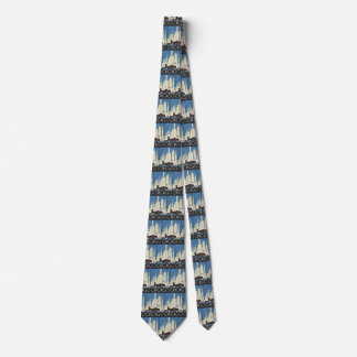 Vintage Travel Chicago Illinois Skyscraper Skyline Tie