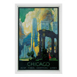 Vintage Travel Chicago New York Central Lines Poster