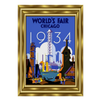 Vintage Travel Chicago World's Fair 1934 Gold Poster