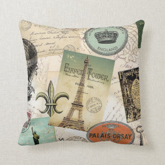 Vintage Travel collage pillow