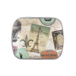 Vintage Travel collage tin can filled with mints Jelly Belly Tins