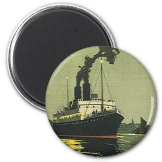 Vintage Travel, Cruise Ship in Harbor Fridge Magnet