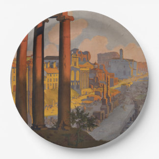 Vintage Travel Design with Roman Forum in View 9 Inch Paper Plate