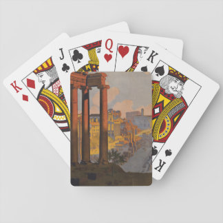Vintage Travel Design with Roman Forum in View Playing Cards