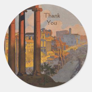 Vintage Travel Design with the Roman Forum Thanks Round Sticker