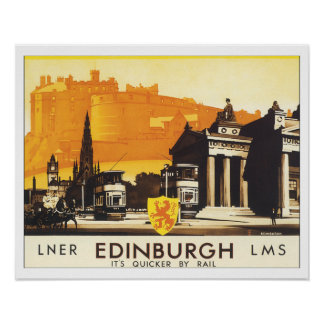Vintage Travel Edinburgh Scotland Poster