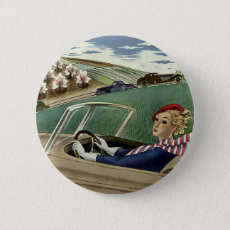 Vintage Travel, Elegant Woman in Convertible Car 6 Cm Round Badge