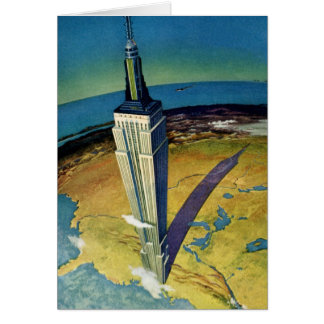 Vintage Travel Empire State Building New York City Card