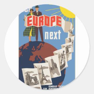 Vintage Travel Europe Classic Round Sticker