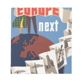 Vintage Travel Europe Notepad