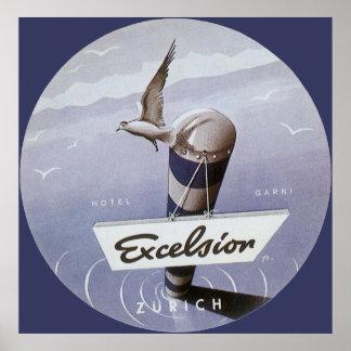 Vintage Travel Excelsior Hotel Zurich Switzerland Poster