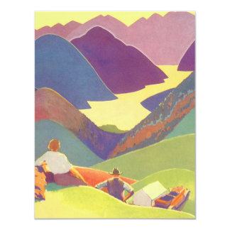 Vintage Travel, Family Picnic, Mountain Vacation 11 Cm X 14 Cm Invitation Card