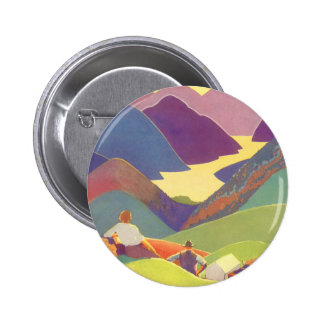 Vintage Travel, Family Picnic, Mountain Vacation 6 Cm Round Badge