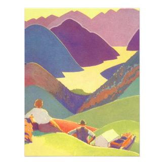 Vintage Travel, Family Picnic, Mountain Vacation Custom Invitations