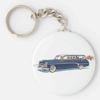 Vintage Travel, Family Vacation in a Station Wagon Basic Round Button Key Ring