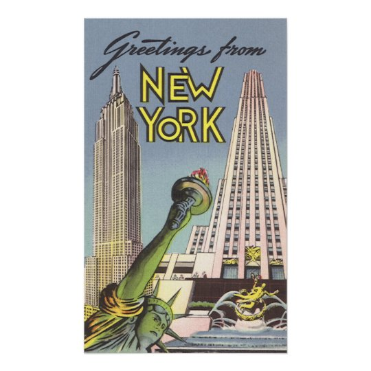 Vintage Travel, Famous New York City Landmarks Poster