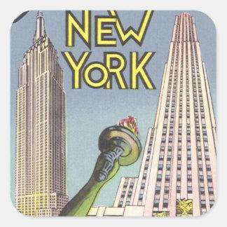 Vintage Travel, Famous New York City Landmarks Square Sticker