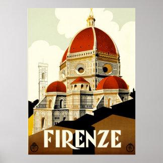 Vintage Travel Firenze Italy Print
